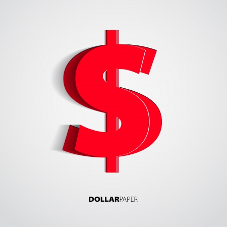 Dollar from paper on isolated white background - vector Vector