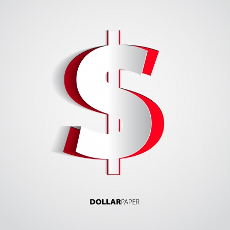 Dollar from paper on isolated white background - vector Illustration