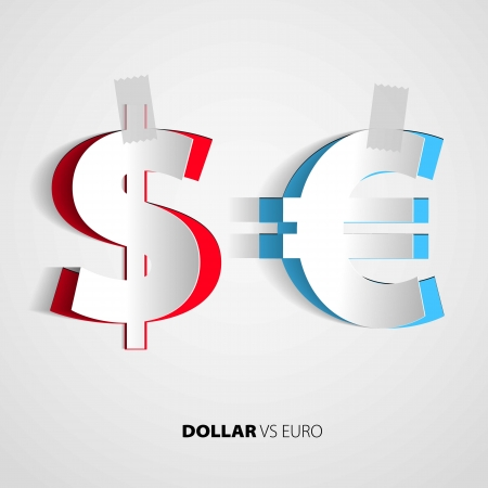 Dollar and euro from paper on isolated white background - vector Vector