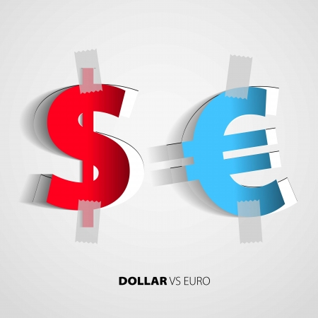us paper currency: Dollar and euro from paper on isolated white background - vector Illustration