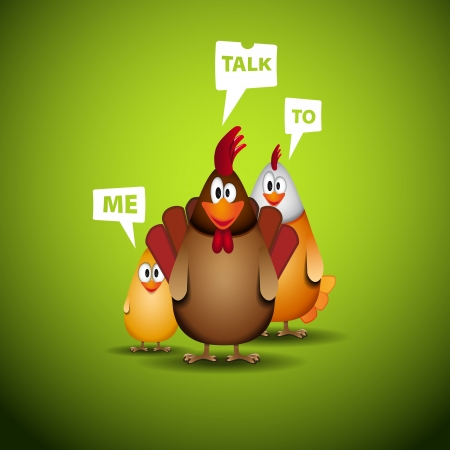 chicken family: Happy Easter - Funny chicken family with speech bubbles - vector illustration