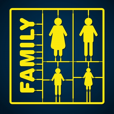 model kit: Silhouette family model kit with sign