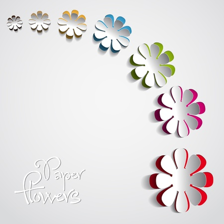 corner border: Colorful Paper flowers on white background - vector
