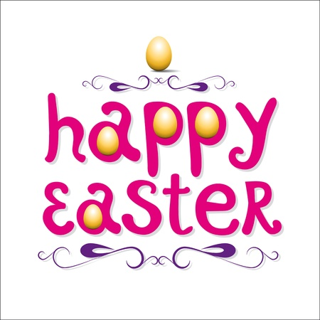 Feliz Pascua tarjetas ilustraci�n con huevos de Pascua