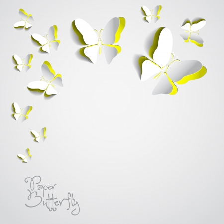 Greeting card with paper butterflies Illustration