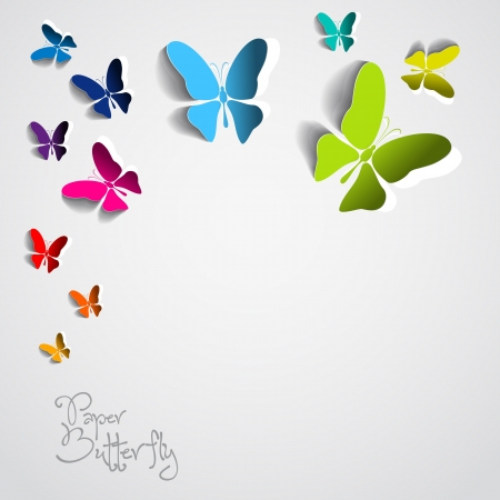 Greeting card with colorful paper butterflies