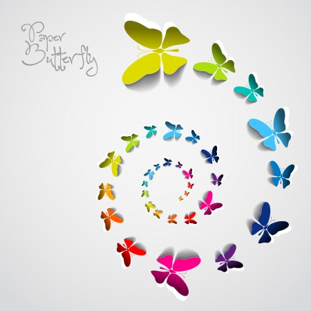 Greeting card with colorful paper butterflies in spiral Illustration