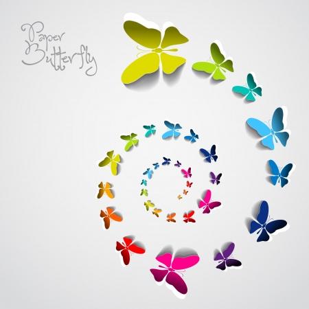 Wenskaart met kleurrijke papieren vlinders in spiraal Stock Illustratie