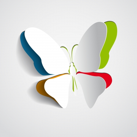 Greeting card with rainbow paper butterfly