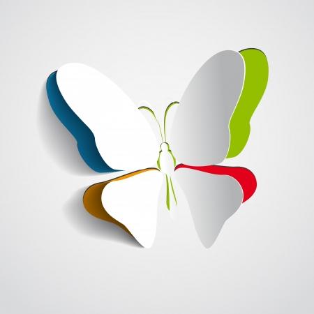 Wenskaart met regenboog papier vlinder Stock Illustratie