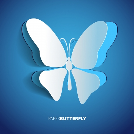Greeting card with blue paper butterfly Stock Vector - 20361245
