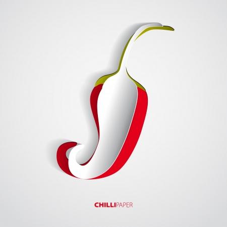 Red hot chili peper papier op een witte achtergrond Stock Illustratie