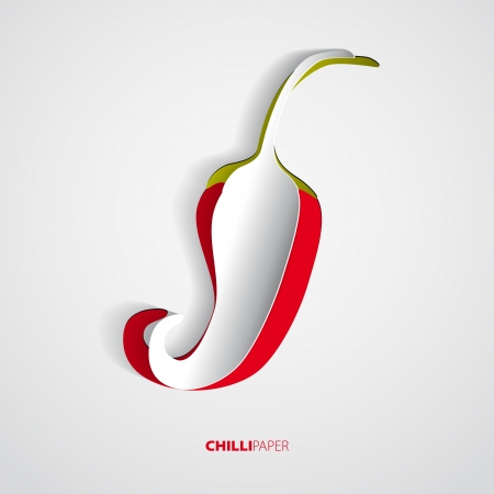 Red hot paper chili pepper on white background