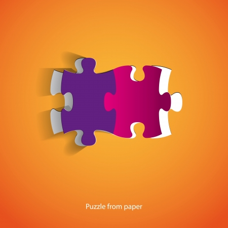 Two puzzle pieces from paper Vector