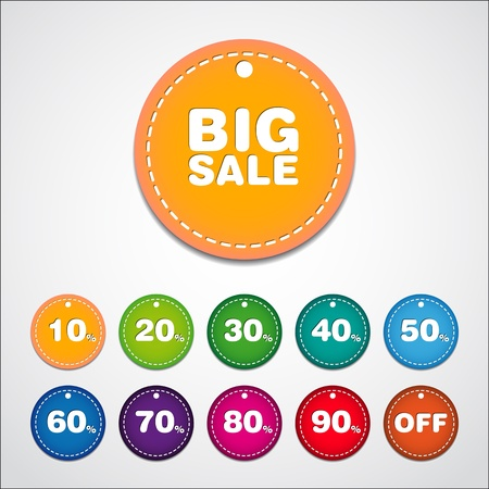 Big Sale tags with Sale up to 10 - 90 percent text on circle tags - vector  イラスト・ベクター素材