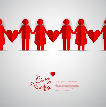 Paper Men and Woman with heart on white background - Be my valentine theme Vector