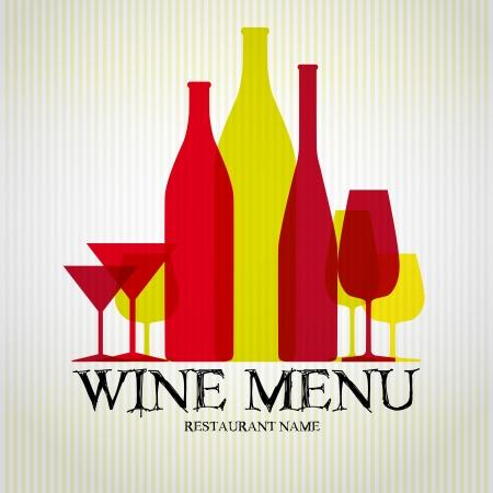wine glasses: Wine menu design template - vector card