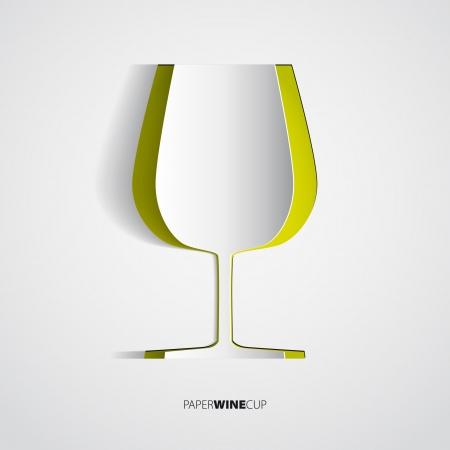 salumi affettati: Bicchiere di vino dalla carta - illustrazione vettoriale