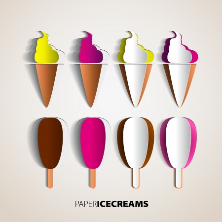 soft ice: Vector Ice Cream from paper isolated on background