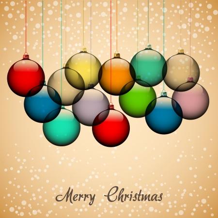Retro achtergrond van Kerstmis met ballen