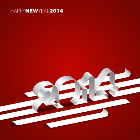 Happy New Year 2014 - Paper stripes with year - card design Draw Vector