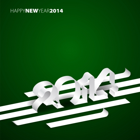 Happy New Year 2014 - Paper stripes with year  Vector