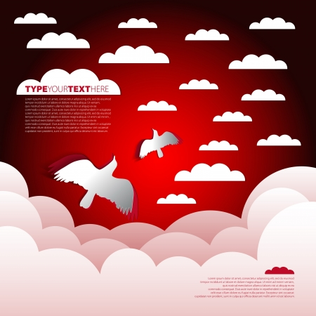 prognosis: Paper theme with clouds and birds Illustration