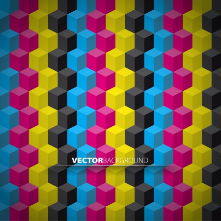 Vector cubes in CMYK colors background Vector
