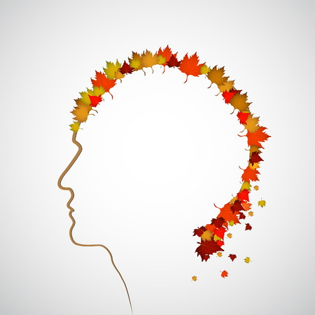 Autum and fall theme head with leaves Stock Vector - 23776863