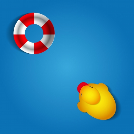 Cute duck with rescue wheel card design illustration Vector