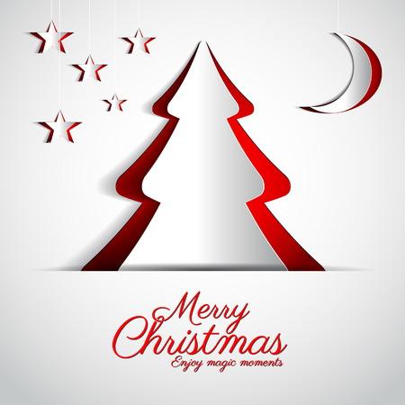 Merry Christmas papier boom ontwerp wenskaart - vector illustratie Stock Illustratie