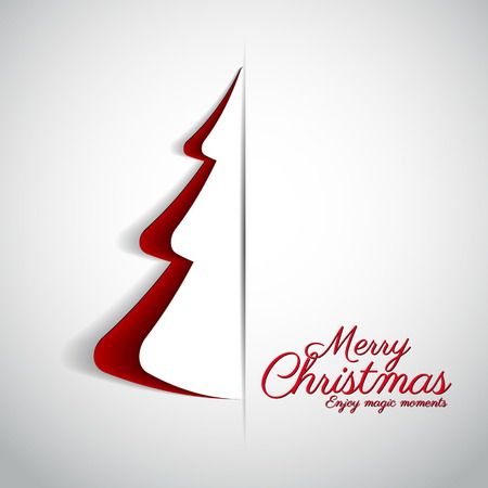 merry: Merry Christmas paper tree design greeting card - vector illustration Illustration