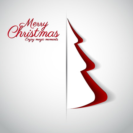 Merry Christmas background with paper tree