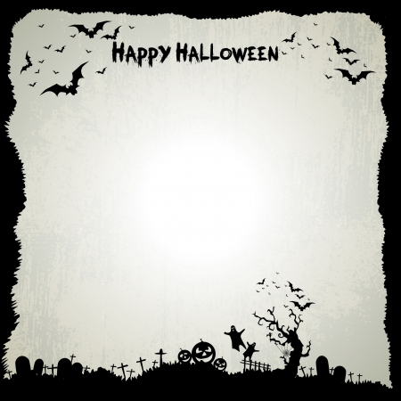 Happy Halloween sign and theme design background - vector illustration Vector