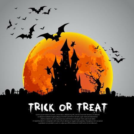 Happy Halloween sign and theme design background - vector illustration  イラスト・ベクター素材