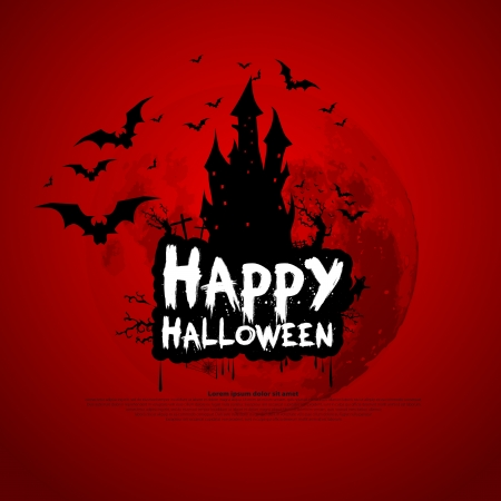 Happy Halloween sign and theme design background - vector illustration Иллюстрация