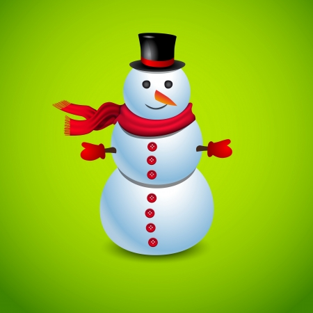 green tophat: Merry Christmas Cute Snowman on green background Illustration