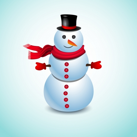 green tophat: Merry Christmas Cute Snowman on blue background