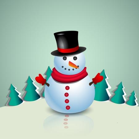 Cute snowman with trees - Merry christmas theme Vector