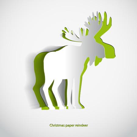 Deer paper merry christmas vector illustration  イラスト・ベクター素材