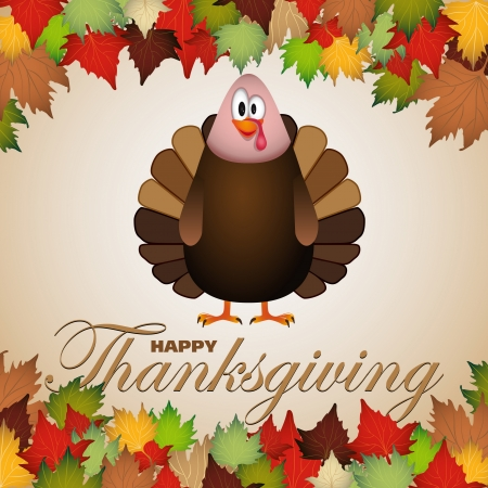 Happy thanksgiving theme card vector illustration 免版税图像 - 23510141