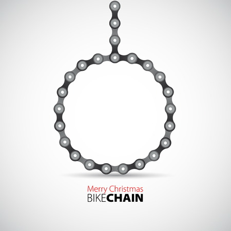 ball chains: Vector Merry christmas bauble from Bicycle chain Illustration