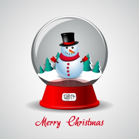Merry Christmas Cute Snowman on white background Vector