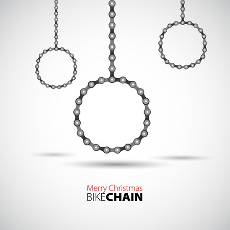 Vector Merry christmas baubles from Bicycle chain Ilustrace