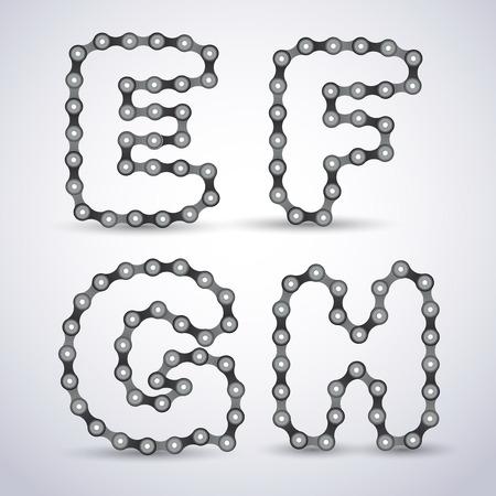 fietsketting: Vector letters van het alfabet gemaakt van Fietsketting Stock Illustratie