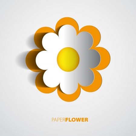 cut flowers: Color paper flower cutout background  Illustration