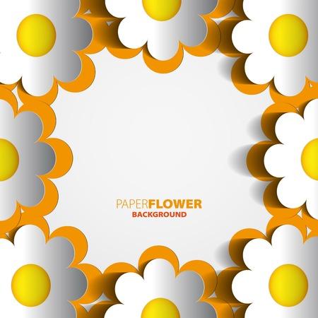Fondo de flores de papel de color recorte