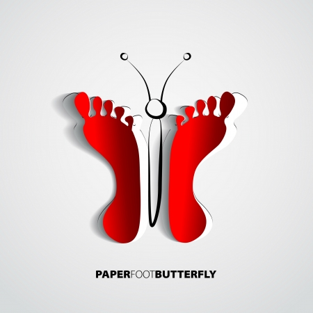 Butterfly Paper Footprints isolated on white - vector Vector