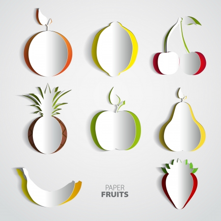 Paper Fruit Set cut out - mix design card illustration