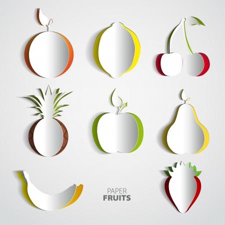 exotic fruit: Paper Fruit Set cut out - mix design card illustration